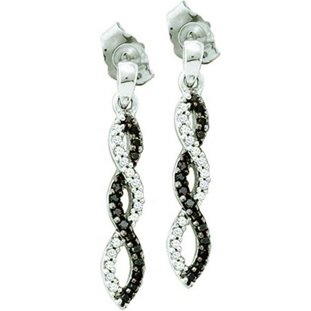 0.15 Carat (ctw) 10k White Gold Black & White Diamond Ladies Infinity Swirl Dangling Earrings