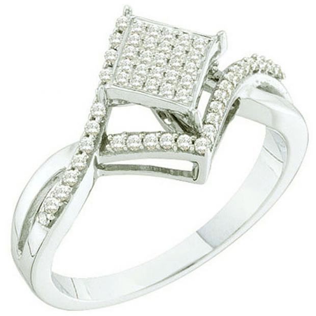 0.25 Carat (ctw) 10k White Gold Round White Diamond Ladies Micro Pave Bridal Engagement Ring