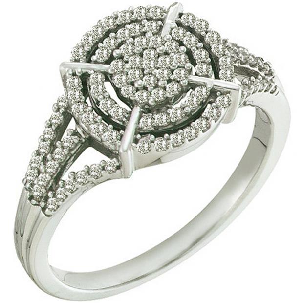 0.35 Carat (ctw) 10k White Gold Round White Diamond Ladies Micro Pave Split Shank Engagement Ring