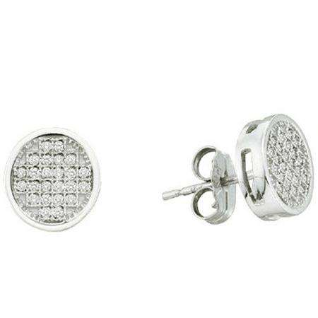 0.15 Carat (ctw) Sterling Silver White Diamond Ladies Micro Pave Setting Circle Shape Stud Earrings