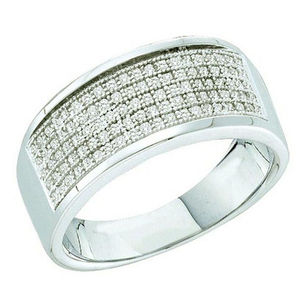 0.30 Carat (ctw) Sterling Silver Round White Diamond Ladies Wedding Anniversary Band
