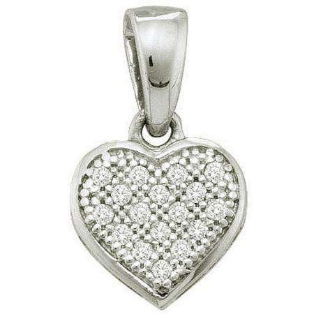 0.05 Carat (ctw) Sterling Silver Round Diamond Ladies Heart Shape Pendant