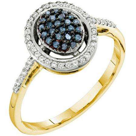 0.25 Carat (ctw) 10k Yellow Gold Blue & White Diamond Ladies Cocktail Right Hand Ring