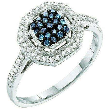 0.25 Carat (ctw) 10k White Gold Blue & White Diamond Ladies Cocktail Right Hand Ring