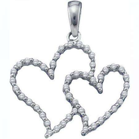 0.17 Carat (ctw) 10K White Gold Round White Diamond Ladies Double Heart Pendant