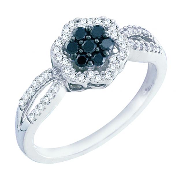 0.32 Carat (ctw) 10k White Gold Black & White Diamond Ladies Flower Split Shank Engagement Ring 1/3 CT