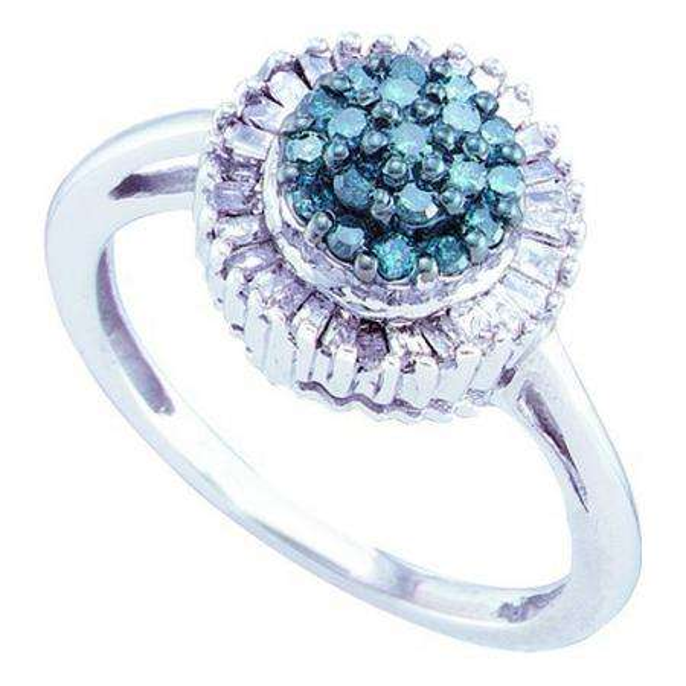 0.50 Carat (ctw) 10k White Gold Blue & White Diamond Ladies Cocktail Right Hand Ring