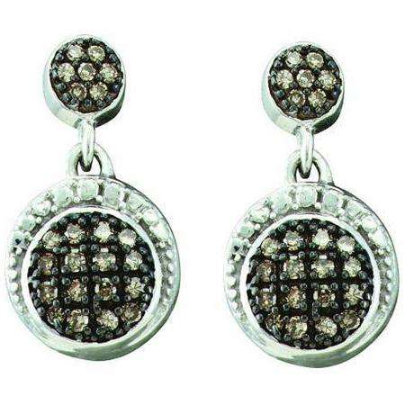 0.25 Carat (ctw) 10k White Gold Brown Diamond Ladies Drop Earrings