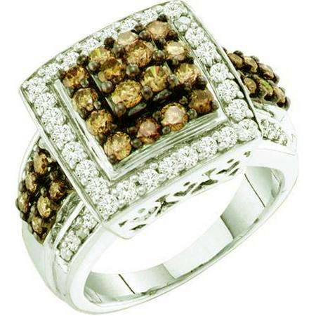 1.50 Carat (ctw) 10k White Gold Round White & Brown Diamond Ladies Fashion Right Hand Ring