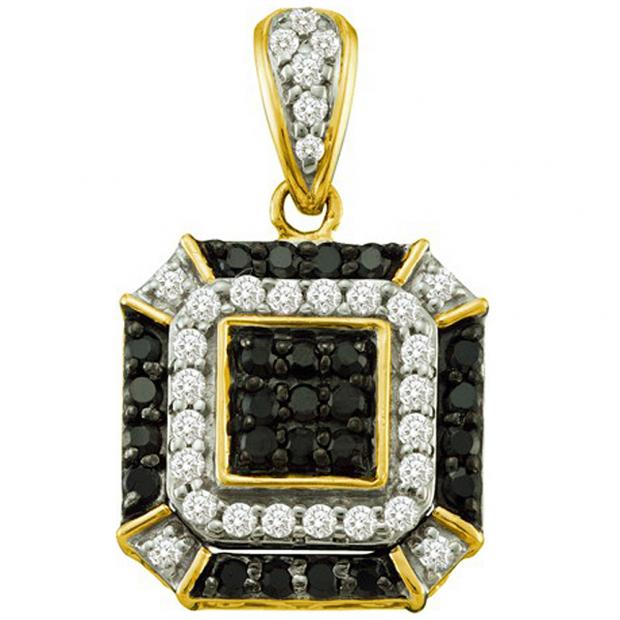 0.48 Carat (ctw) 10k Yellow Gold Round Black & White Diamond Ladies Fashion Pendant