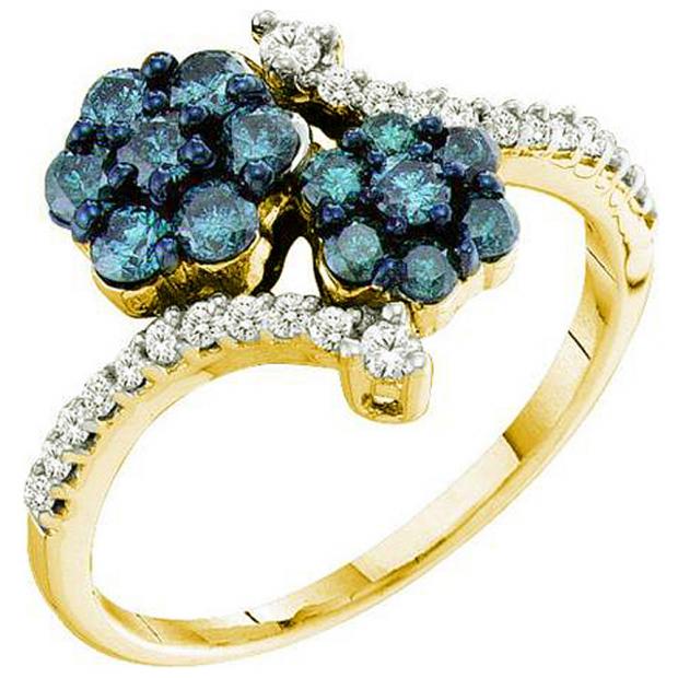0.75 Carat (ctw) 10k Yellow Gold Round Blue & White Diamond Ladies Split Shank Cluster Flower Ring