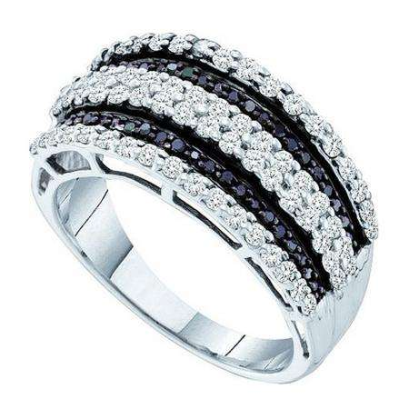 0.82 Carat (ctw) 14K White Gold Round Black & White Diamond Ladies Right Hand Fashion Band