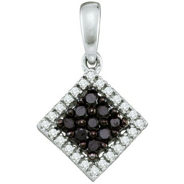 0.29 Carat (ctw) 10k White Gold Black & White Diamond Ladies Square Pendant