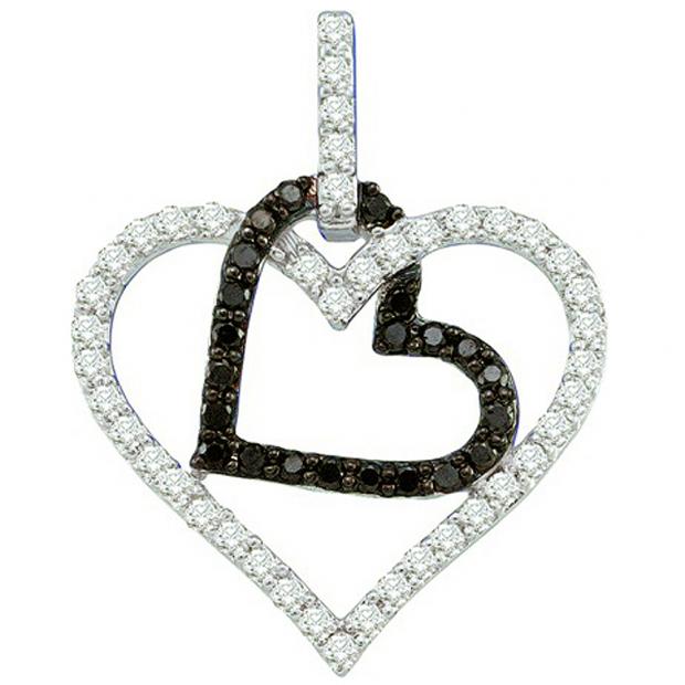 0.51 Carat (ctw) 10k White Gold Round Black & White Diamond Ladies Double Heart Pendant