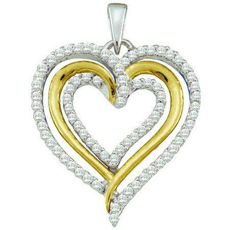 0.40 Carat (ctw) 10k White Gold Brilliant White Diamond Ladies Two Tone Heart Pendant