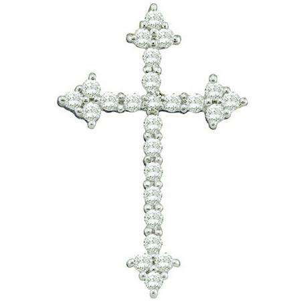 0.25 Carat (ctw) 10k White Gold Round White Diamond Ladies Cross Pendant