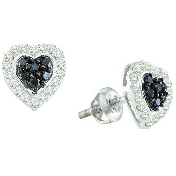 0.33 Carat (ctw) 10k White Gold Black & White Diamond Ladies Heart Shaped Stud Earrings