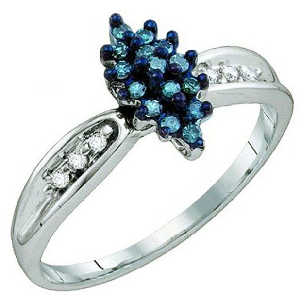 0.18 Carat (ctw) 10k White Gold Blue & White Diamond Ladies Cluster Ring