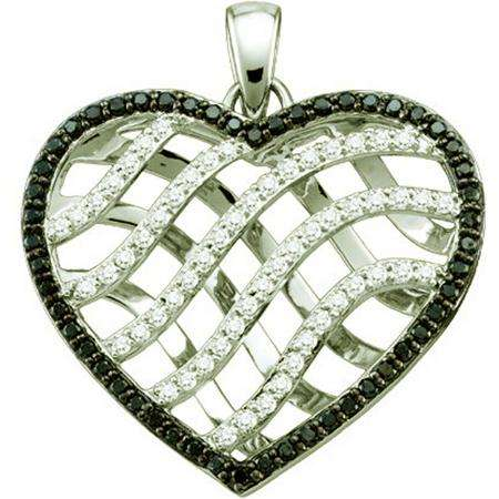 1.02 Carat (ctw) 10k White Gold Round Brilliant Black & White Diamond Ladies Heart Pendant