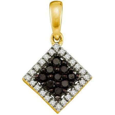 0.29 Carat (ctw) 10k Yellow Gold Black & White Diamond Ladies Square Pendant
