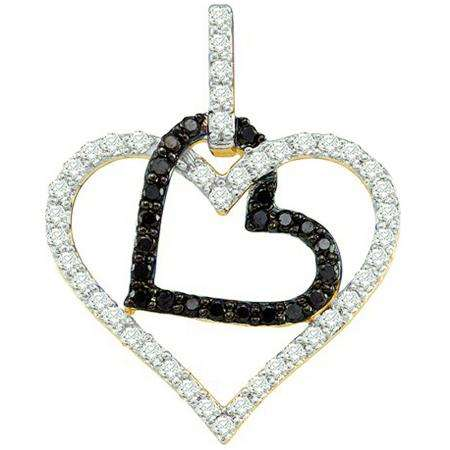 0.51 Carat (ctw) 10k Yellow Gold Round Black & White Diamond Ladies Double Heart Pendant