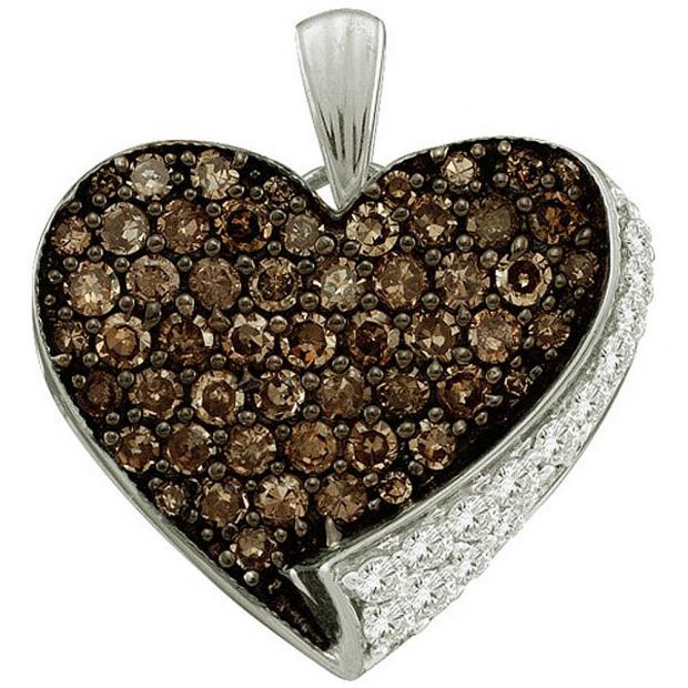 0.85 Carat (ctw) 10k White Gold Brown & White Diamond Ladies Heart Pendant
