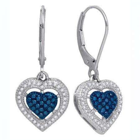 0.40 Carat (ctw) 10K White Gold Round Blue & White Diamond Ladies Dangling Drop Heart Earrings