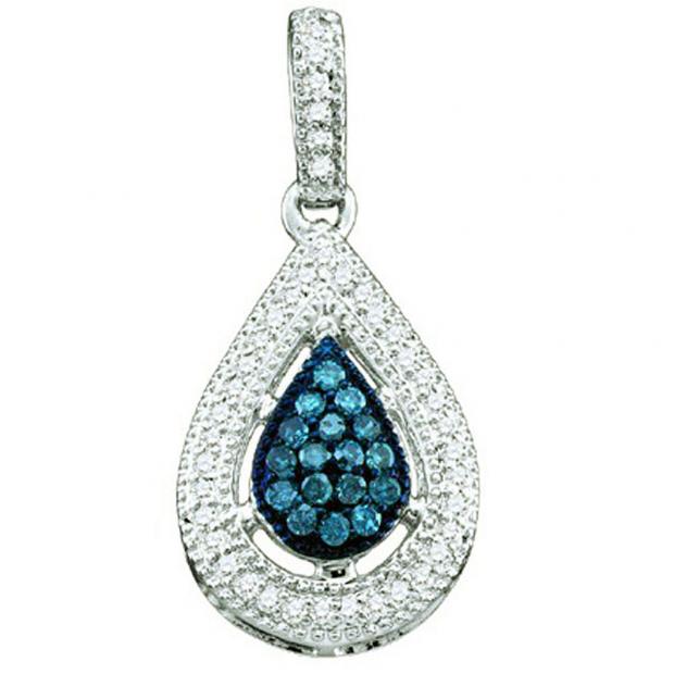 0.21 Carat (ctw) 10k White Gold Blue & White Diamond Ladies Tear Drop Pendant