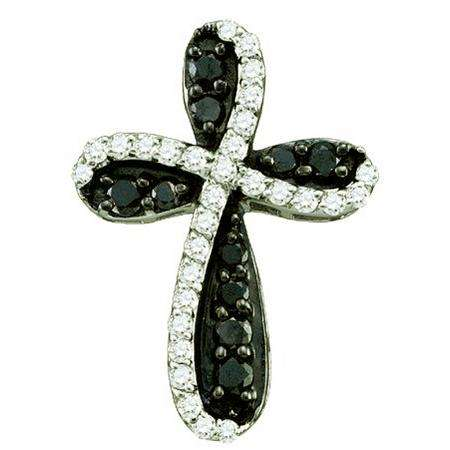 0.97 Carat (ctw) 10k White Gold Round Black & White Diamond Ladies Cross Charm Pendant
