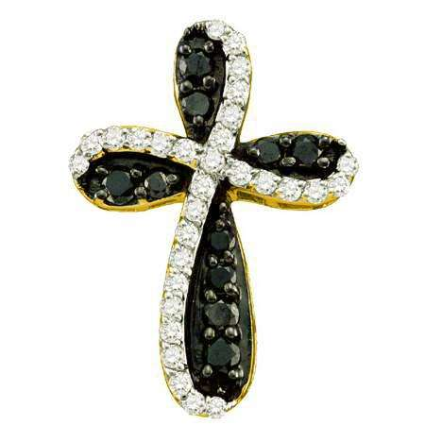 0.97 Carat (ctw) 10k Yellow Gold Round Black & White Diamond Ladies Cross Charm Pendant