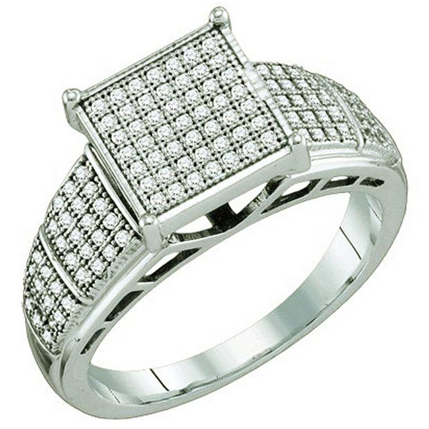 0.33 Carat (ctw) 10k White Gold Round White Diamond Ladies Micro Pave Bridal Engagement Ring