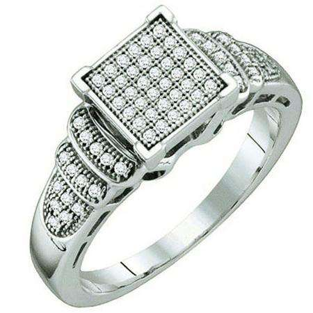 0.20 Carat (ctw) Sterling Silver Brilliant White Diamond Ladies Micro Pave Engagement Ring