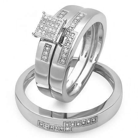0.15 Carat (ctw) Sterling Silver Round White Diamond Men & Women