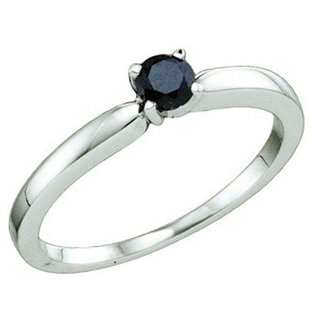 0.26 Carat (ctw) 10k White Gold Round Black Diamond Ladies Solitaire Engagement Ring