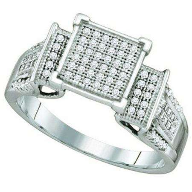 0.30 Carat (ctw) 10k White Gold Brilliant White Diamond Ladies Micro Pave Bridal Engagement Ring