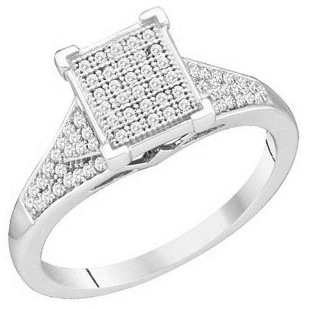 0.25 Carat (ctw) 10k White Gold Brilliant White Diamond Ladies Micro Pave Bridal Engagement Ring