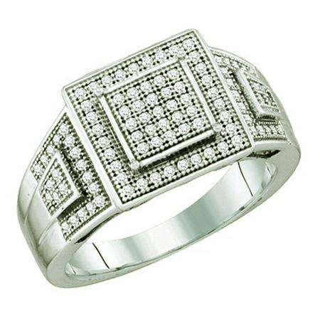 0.30 Carat (ctw) 10k White Gold Brilliant White Diamond Ladies Vintage Style Micro Pave Bridal Engagement Ring