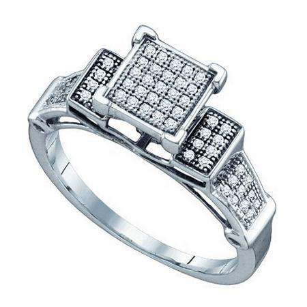 0.20 Carat (ctw) 10k White Gold Brilliant White Diamond Ladies Micro Pave Bridal Engagement Ring