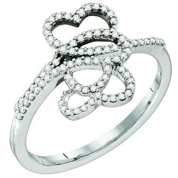 0.20 Carat (ctw) 10k White Gold Round White Diamond Ladies Three Hearts Infinity Love Promise Ring