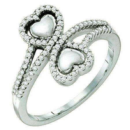 0.25 Carat (ctw) 10k White Gold Round White Diamond Ladies Bridal Double Heart Promise Ring