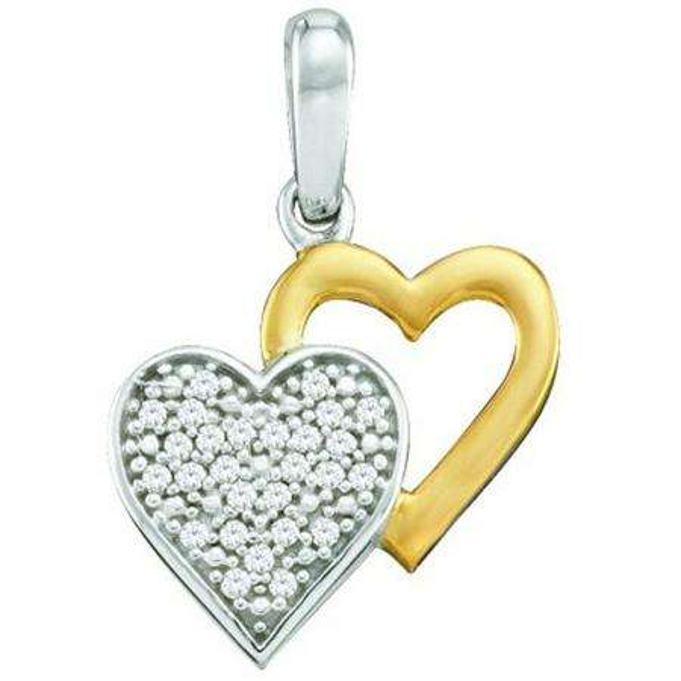 0.08 Carat (ctw) 10k White Gold Brilliant White Diamond Ladies Two Tone Double Heart Pendant