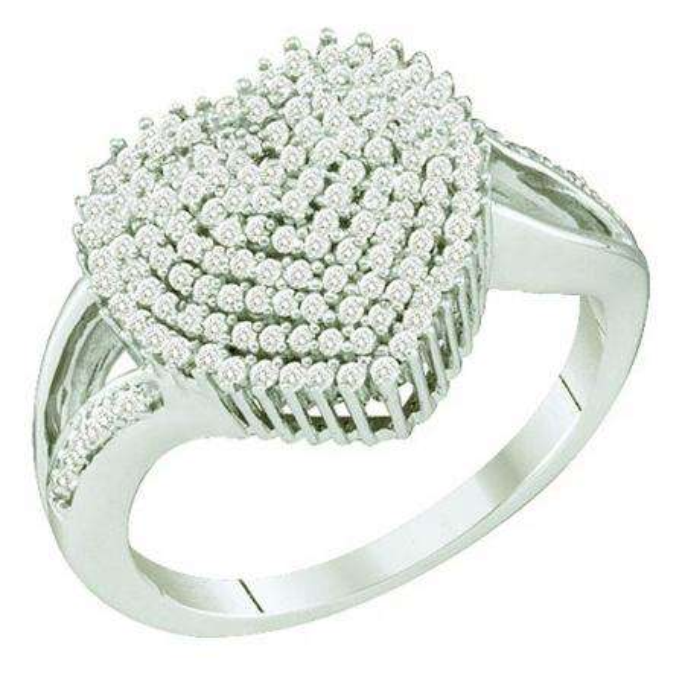 0.50 Carat (ctw) 10k White Gold Brilliant White Diamond Ladies Micro Pave Split Shank Heart Promise Ring