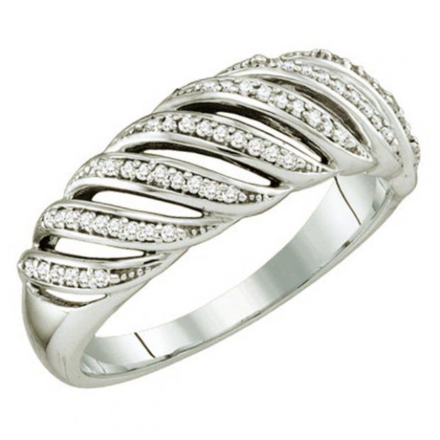 0.18 Carat (ctw) 10k White Gold Round Diamond Ladies Wedding Cocktail Band Ring