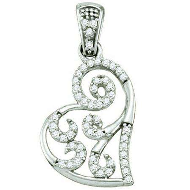 0.15 Carat (ctw) 10k White Gold Brilliant White Diamond Ladies Micro Pave Heart Pendant