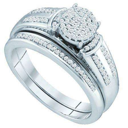 0.25 Carat (ctw) 10k White Gold Brilliant White Diamond Ladies Micro Pave Engagement Ring Bridal Set