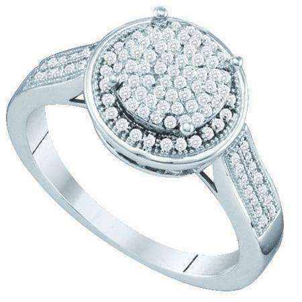 0.33 Carat (ctw) 10k White Gold Round White Diamond Ladies Vintage Style Bridal Engagement Ring