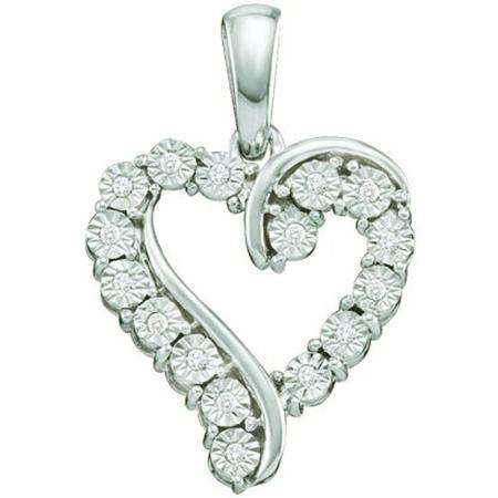 0.05 Carat (ctw) 10k White Gold Round Diamond Ladies Heart Pendant