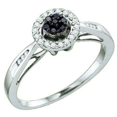 0.20 Carat (ctw) 10k White Gold Black & White Diamond Ladies Cluster Flower Engagement Ring
