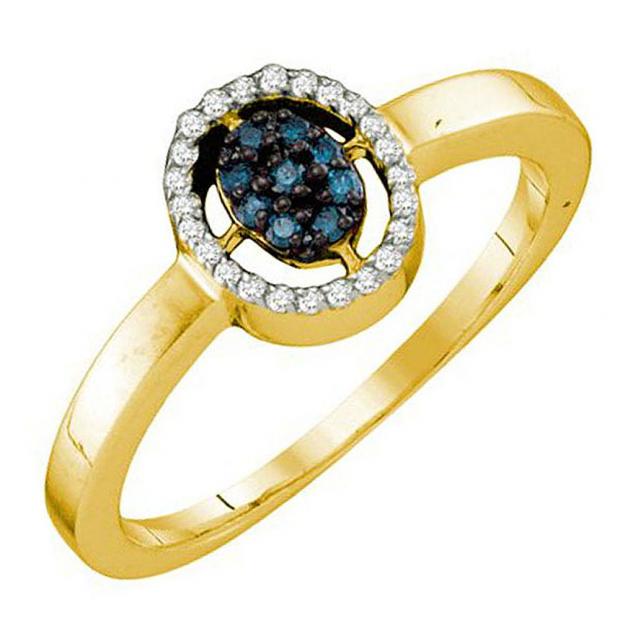 0.17 Carat (ctw) 10k Yellow Gold Blue & White Diamond Ladies Cluster Ring