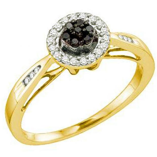 0.20 Carat (ctw) 10k Yellow Gold Black & White Diamond Ladies Cluster Flower Engagement Ring